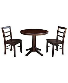 "36"" Round Top Pedestal Table - With 2 Madrid Chairs"