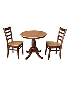 "International Concepts 30"" Round Top Pedestal Table- With 2 Chairs"