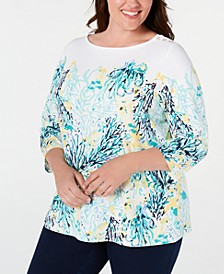 Plus Size Button-Trim Printed Top, Created for Macy's