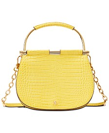 Lauren Ralph Lauren Mason Croc-Embossed Leather Satchel