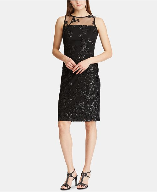 Lauren Ralph Lauren Sequined Embroidery Cocktail Dress
