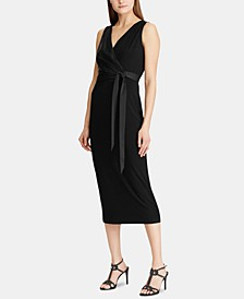 Satin-Sash Jersey Midi Dress