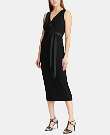 Lauren Ralph Lauren Satin-Sash Jersey Midi Dress