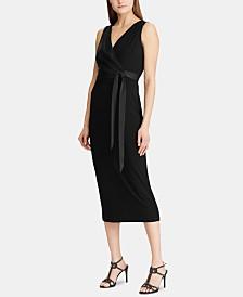 Lauren Ralph Lauren Satin-Sash Jersey Midi Dress