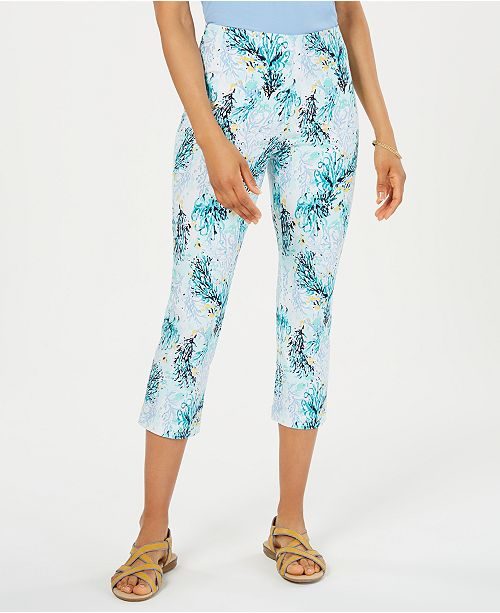 Charter Club Tummy-Control Printed Capris, Created for Macy's