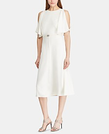 Lauren Ralph Lauren Belted Crepe Cocktail Dress