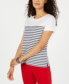 Charter Club Cotton Eyelet-Trim Striped Top, Created for Macy's