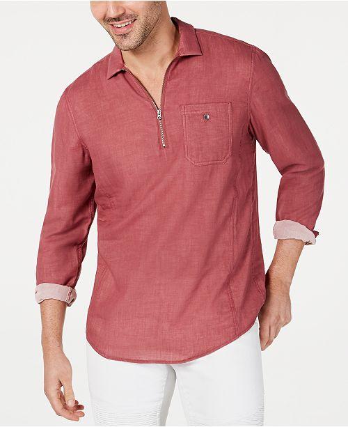 INC International Concepts Men's Leo Quart-Zip Shirt