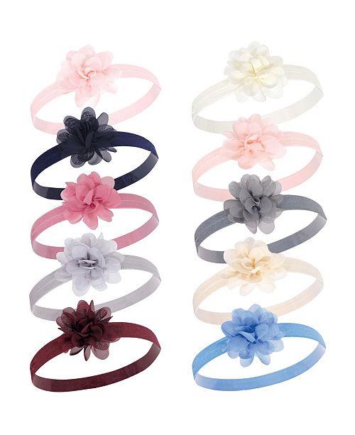 Hudson Baby Girl Flower Headbands, 10-Pack