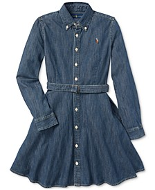 Big Girls Denim Cotton Shirtdress
