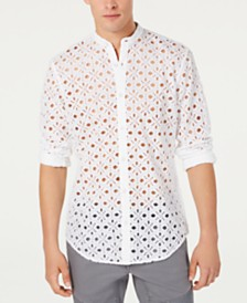 I.N.C. Men's Embroidered Eyelet Shirt, Created for Macy's