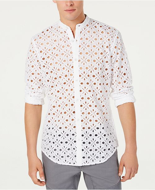 INC International Concepts I.N.C. Men's Embroidered Eyelet Shirt, Created for Macy's