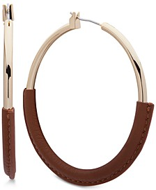 Large Leather-Wrapped Large Hoop Earrings 2-1/4""