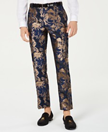I.N.C. Men's Slim-Fit Gold Foil Leaf Pants, Created for Macy's