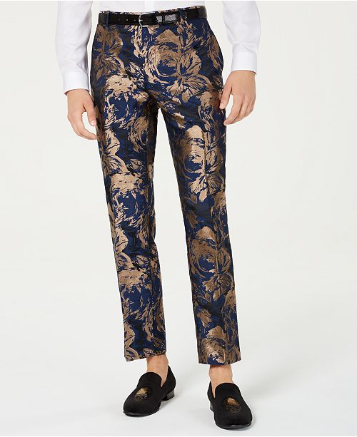 INC International Concepts INC Men's Slim-Fit Gold Foil Leaf Pants, Created for Macy's