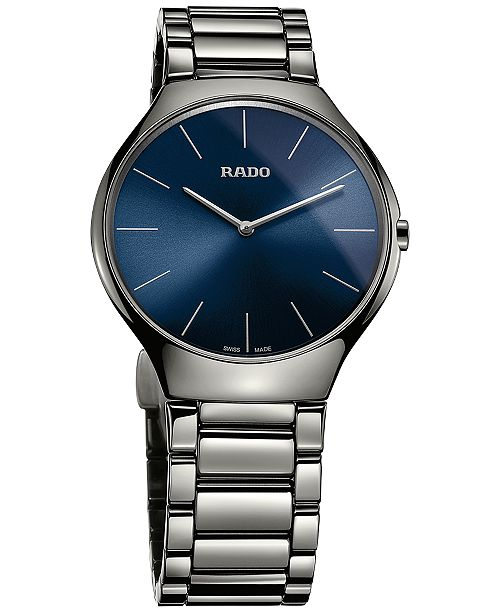 d99636c7c Rado Women's True Thinline Plasma High-Tech Ceramic Bracelet Watch ...