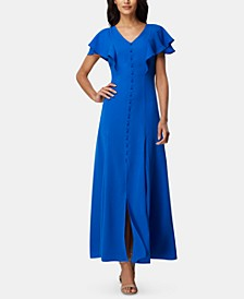 Flutter-Sleeve Georgette Maxi Dress