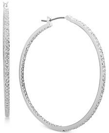 Lauren Ralph Lauren Silver-Tone Pavé In & Out Hoop Earrings