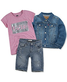 Levi's® Little Girls Snap Button-Front Denim Jacket, Graphic T-Shirt & Bermuda Shorts Separates