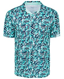 Men's All Over Print Coral Polo Shirt
