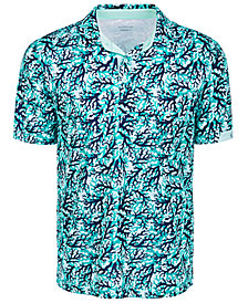 Attack Life by Greg Norman Men's All Over Print Coral Polo Shirt
