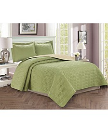 Luxury 2-Piece Bedspread Coverlet Majestic Design Quilted Set with Shams - Twin/Twin XL