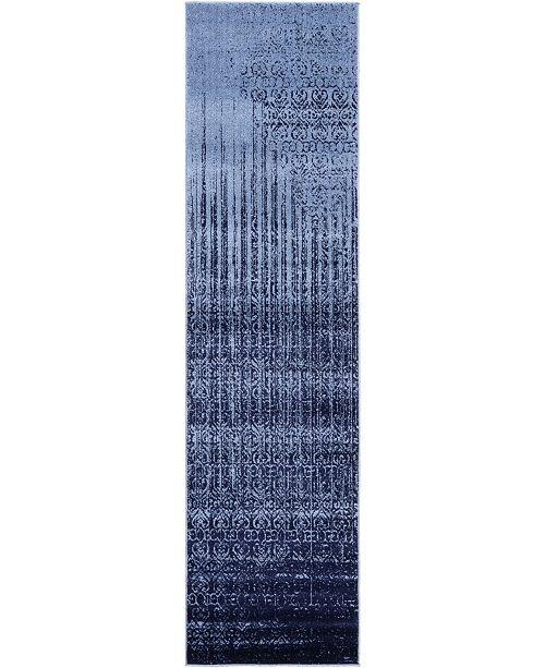 "Bridgeport Home Lyon Lyo2 Blue 2' 7"" x 10' Runner Area Rug"