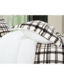 Elegant Comfort Softest, Coziest Heavy Weight Plaid Pattern Micromink Sherpa - Backing Premium Quality Down Alternative Micro - Suede 2-Piece Reversible Comforter Set, Twin/Twin XL