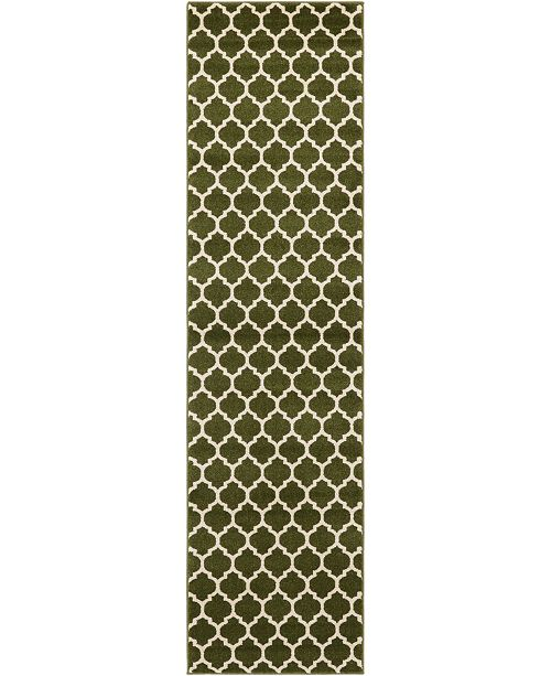 "Bridgeport Home Arbor Arb1 Dark Green 2' 7"" x 10' Runner Area Rug"