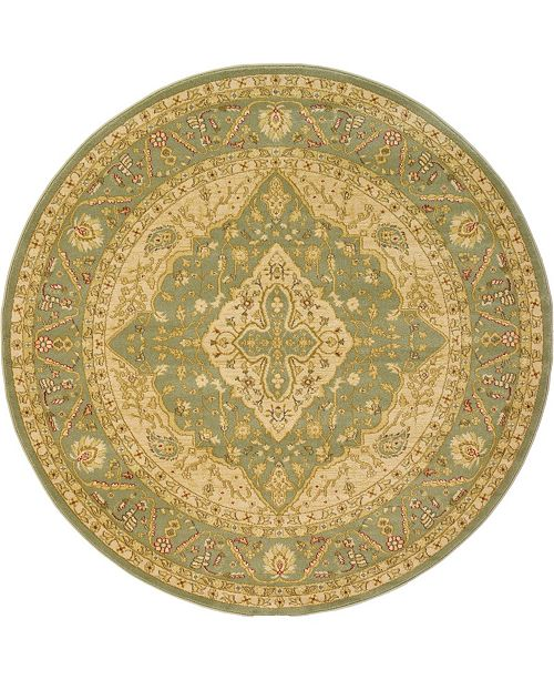 Bridgeport Home Orwyn Orw7 Light Green 6' x 6' Round Area Rug