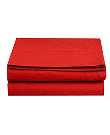 Silky Soft Single Flat Sheet Full Red