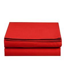 Elegant Comfort Silky Soft Single Flat Sheet Full Red