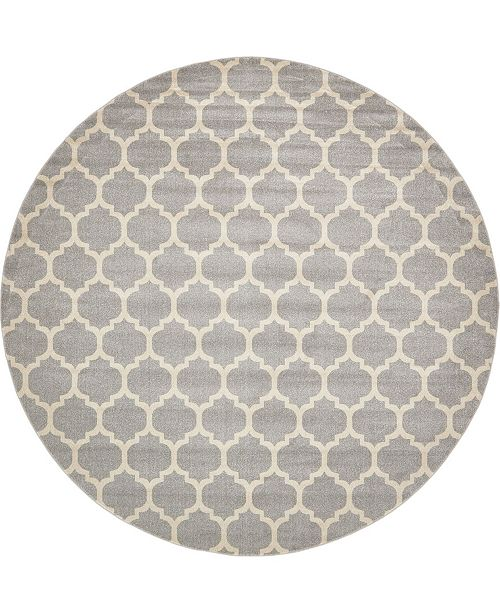 "Bridgeport Home Arbor Arb1 Light Gray 12' 2"" x 12' 2"" Round Area Rug"