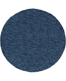 Bridgeport Home Jiya Jiy1 Navy Blue 8' x 8' Round Area Rug