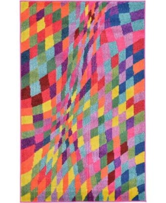 "Newwolf New2 Multi 3' 3"" x 5' 3"" Area Rug"
