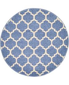"""Arbor Arb1 Light Blue 3' 3"""" x 3' 3"""" Round Area Rug"""
