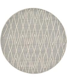 Fio Fio1 Gray 6' x 6' Round Area Rug