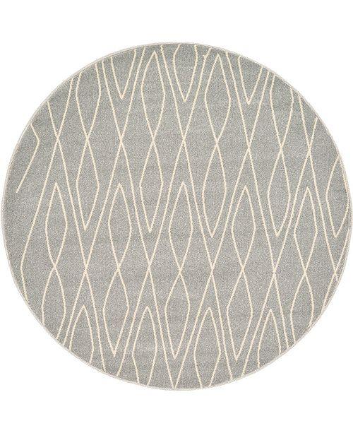 Bridgeport Home Fio Fio1 Gray 6' x 6' Round Area Rug