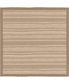 Bridgeport Home Pashio Pas4 Brown 6' x 6' Square Area Rug