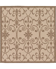 Bridgeport Home Pashio Pas5 Brown 6' x 6' Square Area Rug