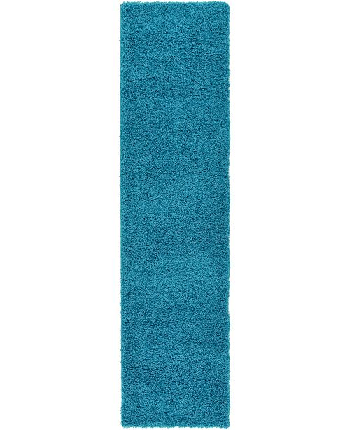 "Bridgeport Home Exact Shag Exs1 Turquoise 2' 6"" x 10' Runner Area Rug"