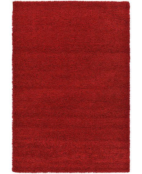 Bridgeport Home Exact Shag Exs1 Cherry Red 6' x 9' Area Rug