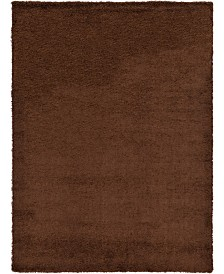 Bridgeport Home Exact Shag Exs1 Chocolate Brown 8' x 11' Area Rug