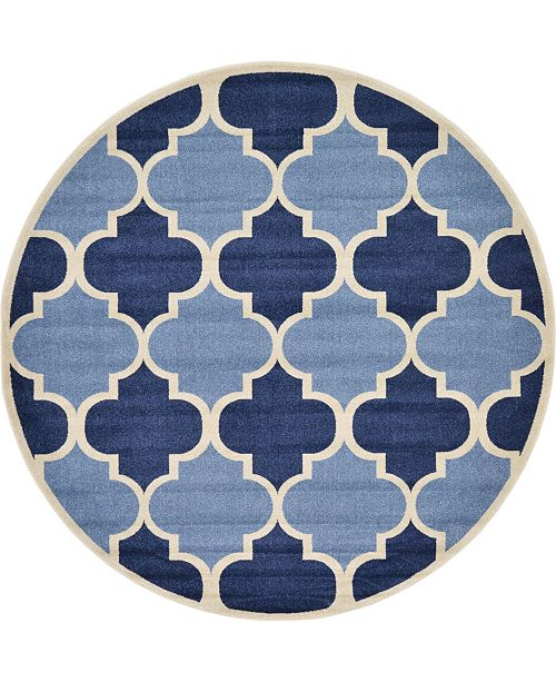 Bridgeport Home Arbor Arb7 Light Blue 8' x 8' Round Area Rug