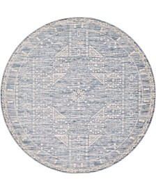 Caan Can3 Blue 6' x 6' Round Area Rug