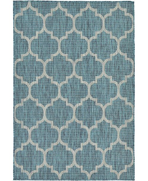 Bridgeport Home Pashio Pas5 Teal 4' x 6' Area Rug