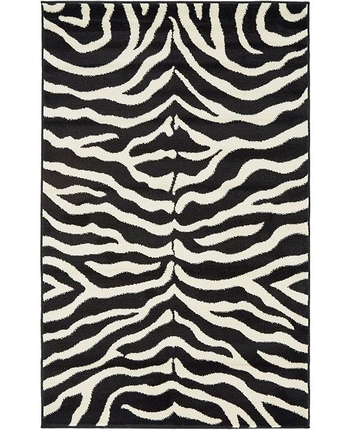 "Bridgeport Home Maasai Mss5 Black 3' 3"" x 5' 3"" Area Rug"