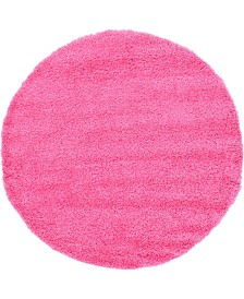 Bridgeport Home Exact Shag Exs1 Taffy Pink 6' x 6' Round Area Rug