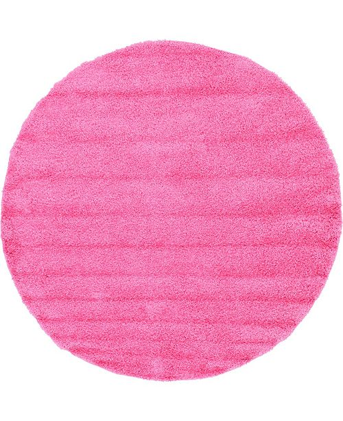 "Bridgeport Home Exact Shag Exs1 Taffy Pink 8' 2"" x 8' 2"" Round Area Rug"