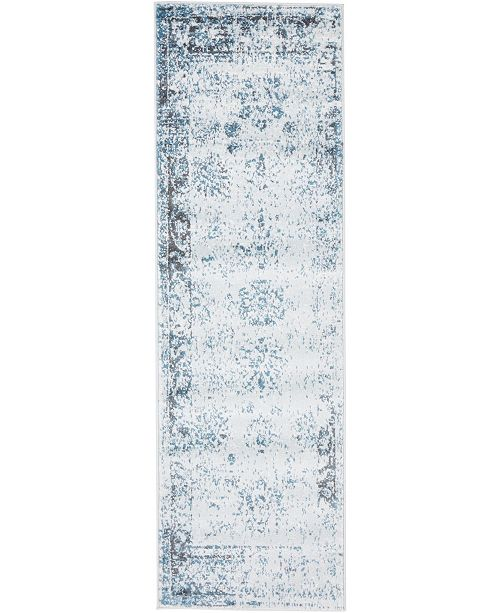"Bridgeport Home Basha Bas1 Light Blue 2' x 6' 7"" Runner Area Rug"